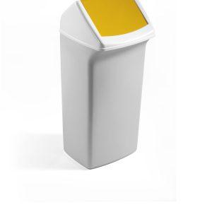 Basurero 40L tapa abatible amarillo